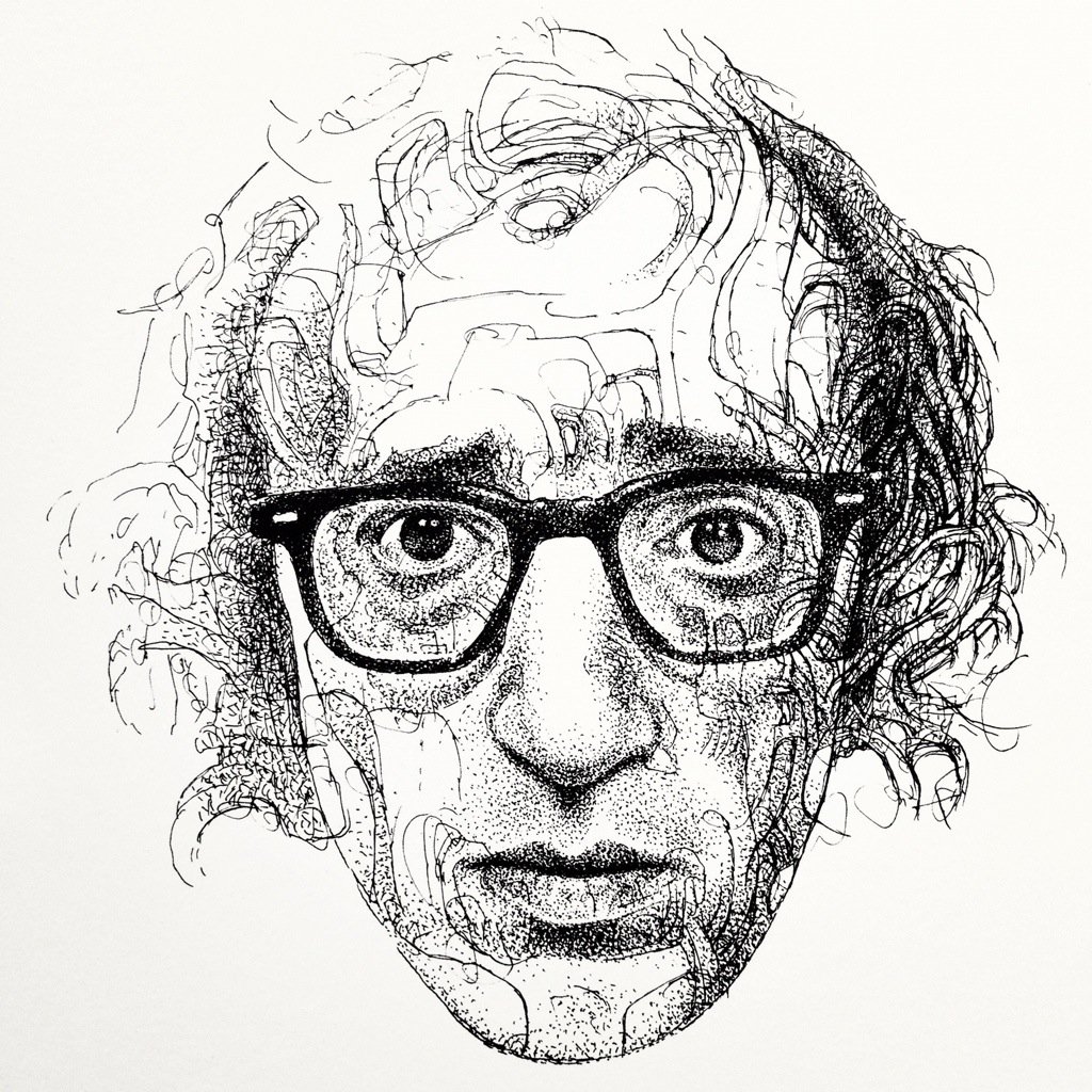 Woody Allen Drawing Woody Allen Confused by